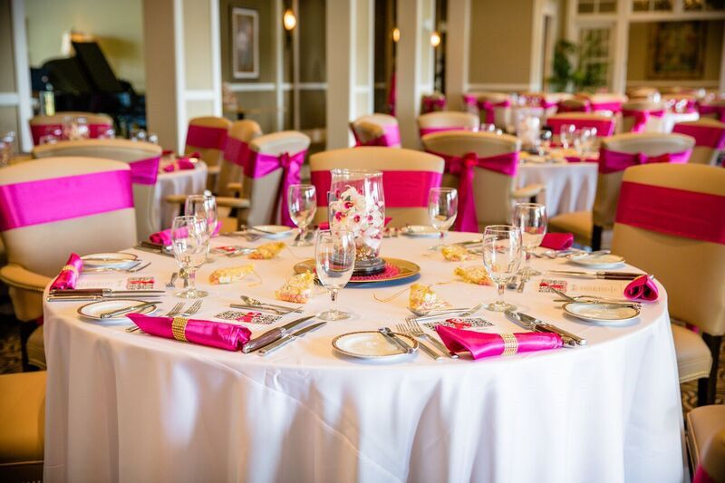 Table set-up with pink accent