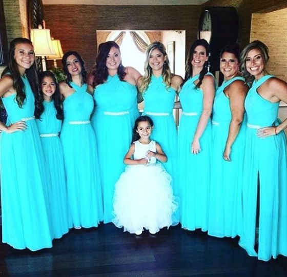 A perfect high neck bridesmaid dress by Bari Jay in aqua