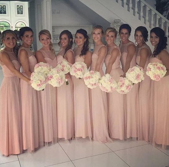 High neck bridesmaid dresses in blush by Amsale Bridesmaids