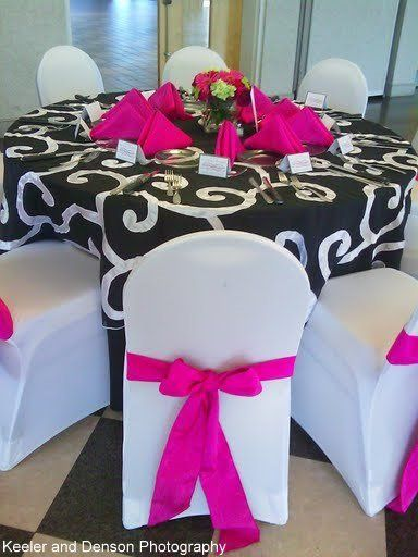 Hot pink chair ribbons   Photo courtesy of Keeler and Denson photography