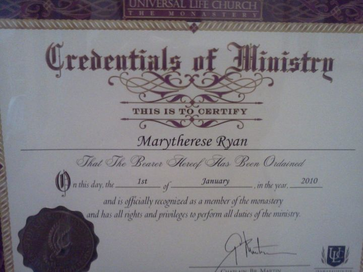 Tmx 1338927423856 Credentialsofministry Middletown wedding officiant