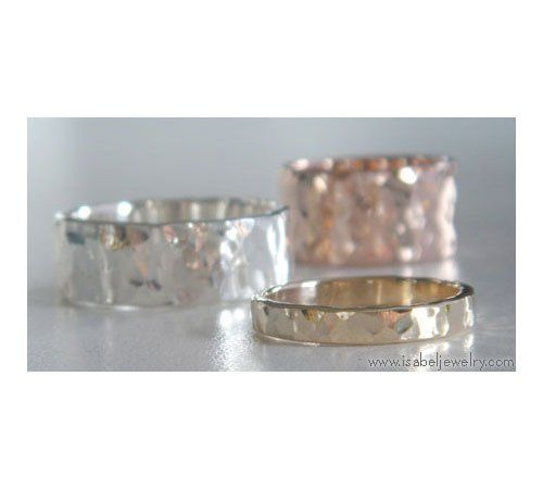 "3mm, 8mm and 10mm 14K Hammered Rings.  ""Round Hammer"" pattern, three patterns available."