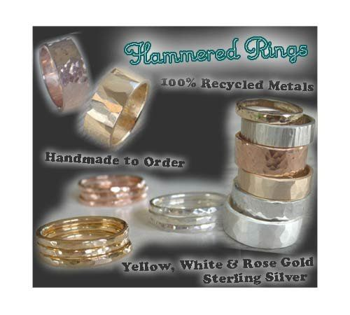 Hammered Rings in all sizes, colors and widths!  Unique, handmade to order, 100% recycled precious...