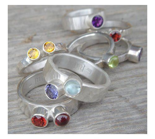 Fun stones on hammered sterling silver rings.