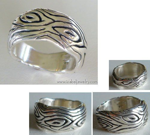 "Sterling Silver ""Wood Ring."""
