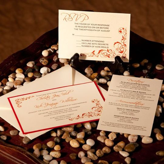 Standard Invitation with RSVP and Accommodations Cards