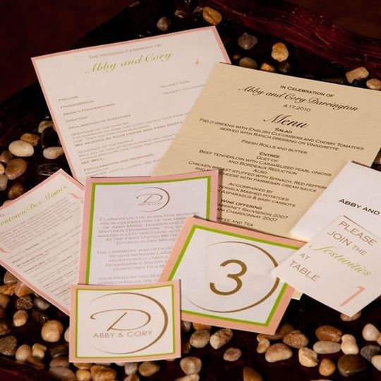 Wedding program, dinner menu, seating cards, table numbers, envelopes, welcome cards, etc.