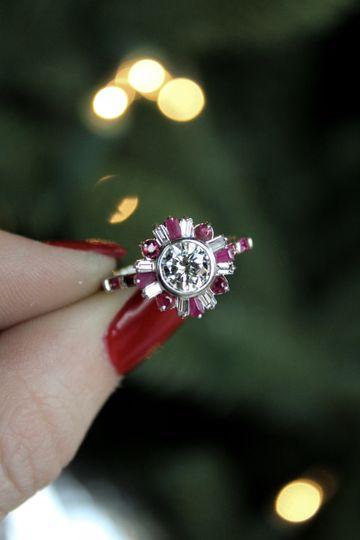 Custom Diamond + Ruby Ring