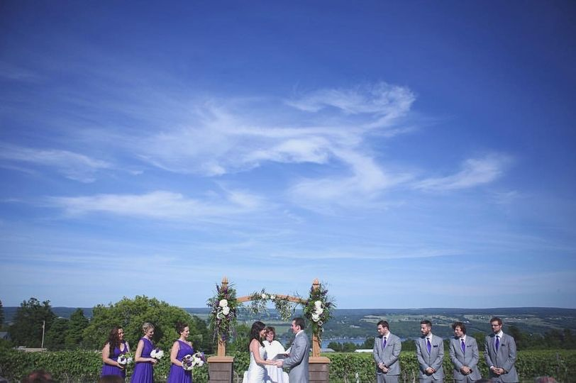 Blue skies at the wedding