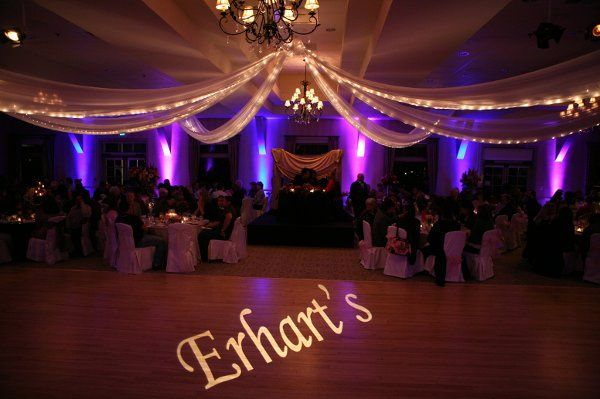 Our LED Uplights with Color Changes and monogram projection