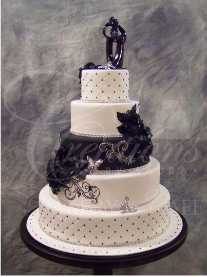black pearl rhinestone stencil fantasy flower wedding cake 51 492402