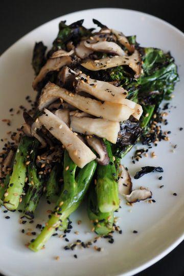 Charred chinese broccoli, washington white trumpets