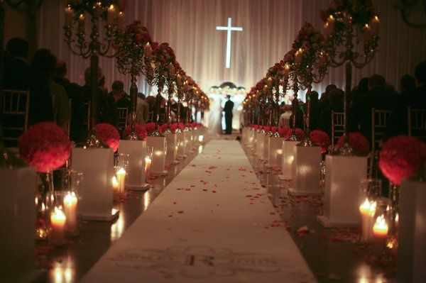 Ashley & John's wedding venue was constructed from scratch in a standard convention center building.