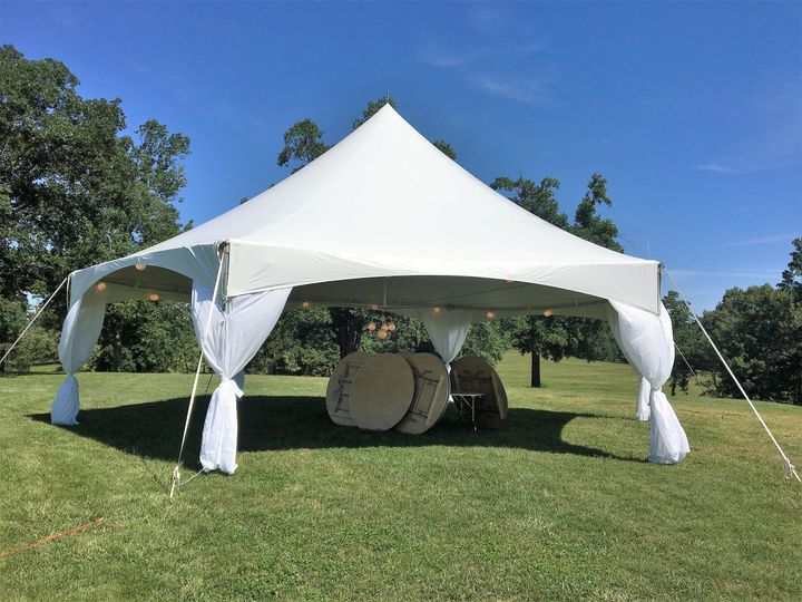 40 Foot Hexagon Tent with Pole Drapes