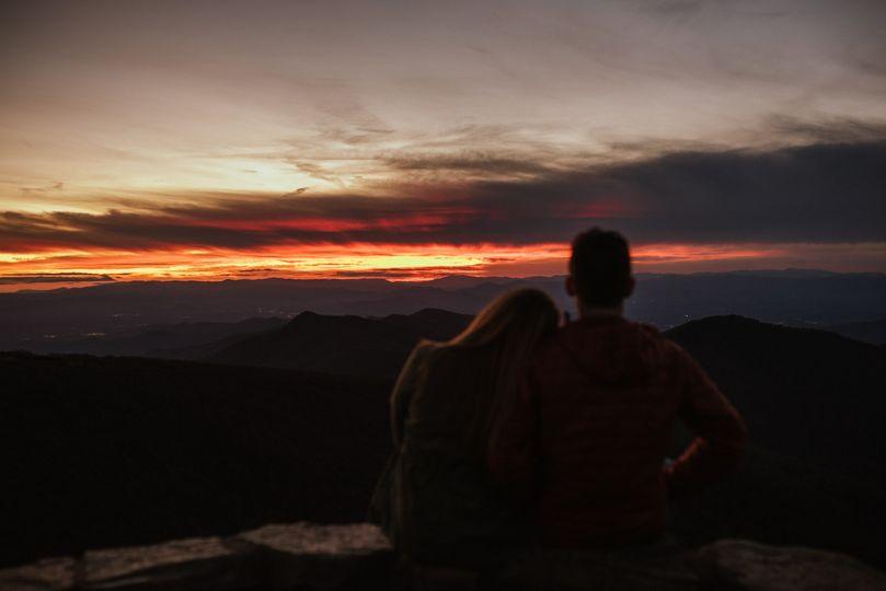 Blue Ridge engagement sunset