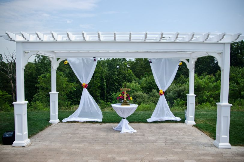 White pergola set up