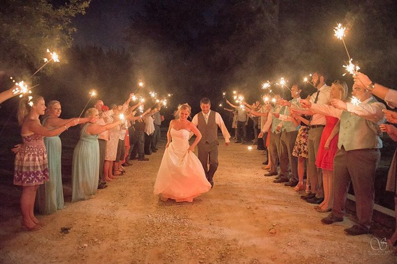 Sparkler sendoff in a country wedding