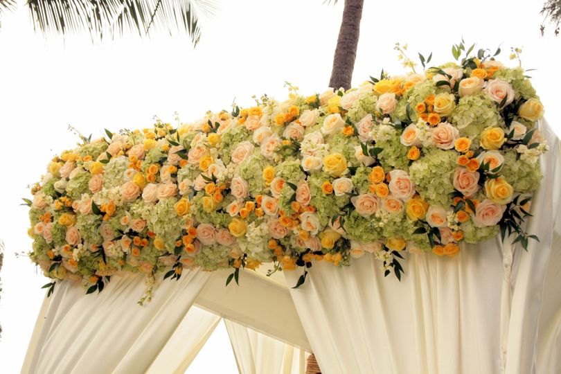 A Canopy with buttercream Charmuse fabric is topped with a floral border