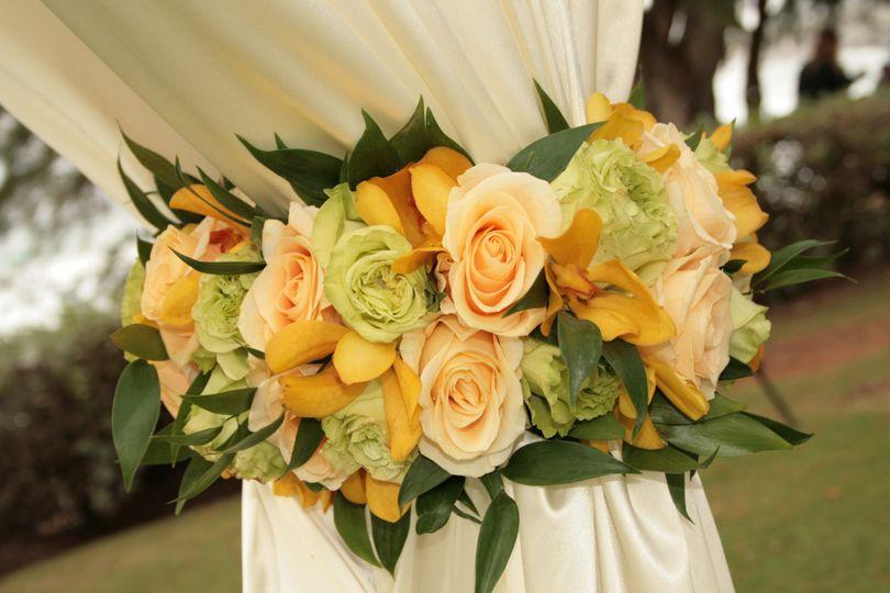 Floral Tiebacks complete the look