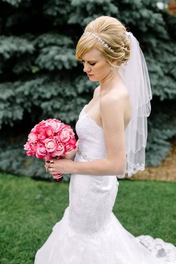 Sarah & Chris ~ Fuchsia / Pink Real Touch Roses Wedding Bouquet  Photo Credit ~ Josh Hicks...