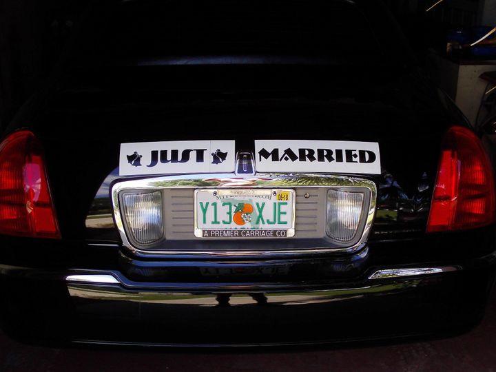 Tmx 1525375672 E2c6e99ac7469db7 1525375671 3896a7eeb0767700 1525376065373 1 Just Married Sign Ocala, FL wedding transportation