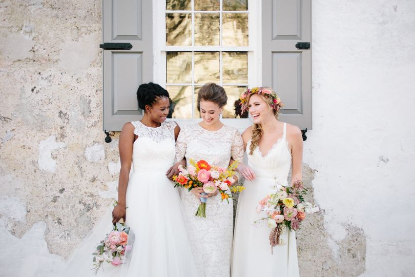 White dresses for the bride and bridesmaids