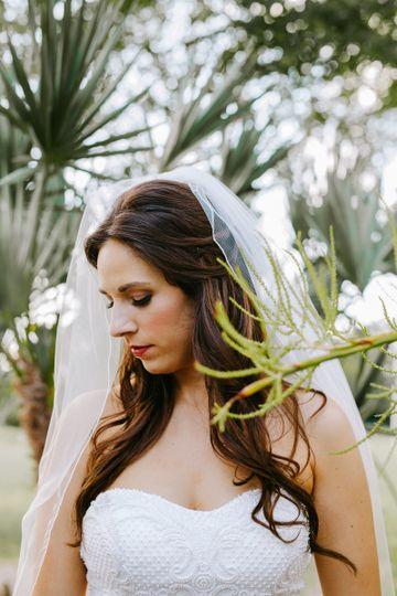 Bridal makeup and veil