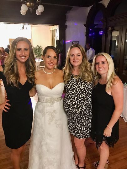 Bride and her girls at wedding reception