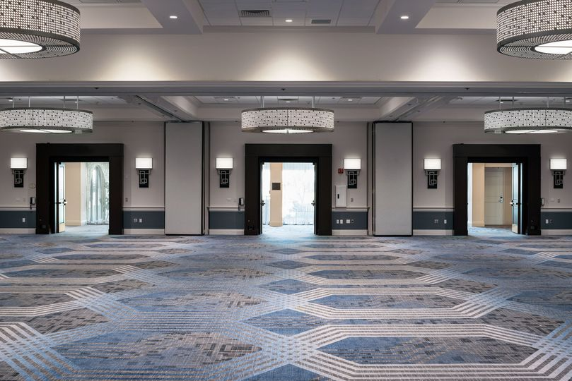 Beautiful new California Ballroom has soft colors that complement any event or wedding.