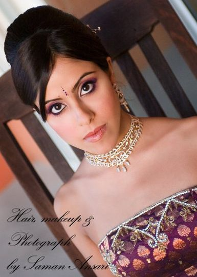 A Red Carpet Up do and dramatic makeup look for an Opulent Indian Wedding Reception.