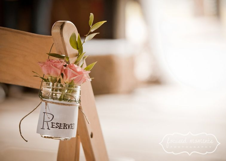 Chair setting with bouquet