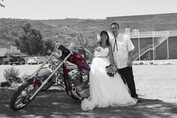 The happy couple and their bike.
