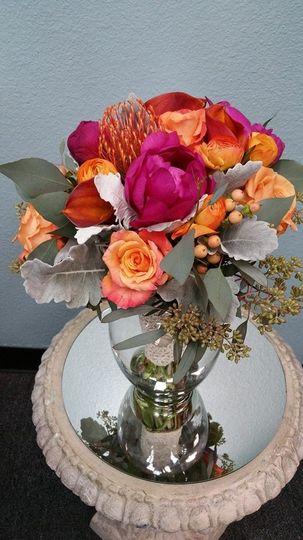 Colorful vase centerpiece