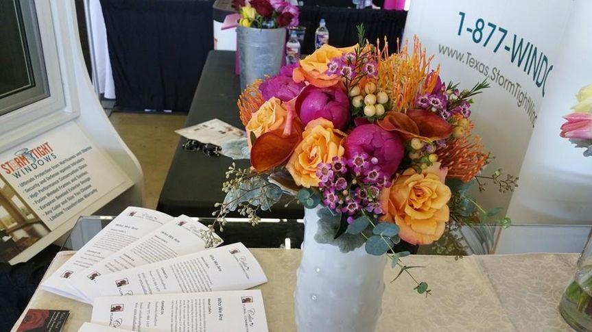 Pink and orange flower arrangement