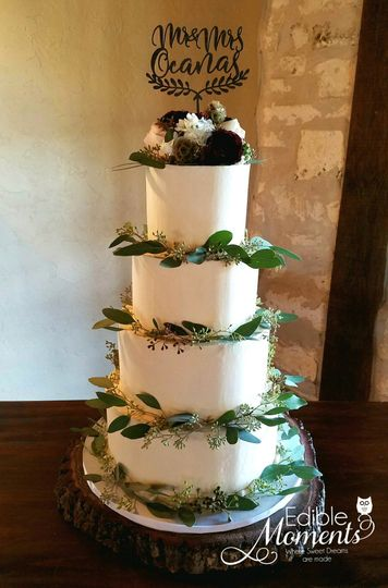 Classic Butter Cream made elegant rustic with eucalyptus leaves