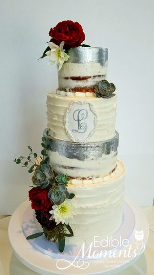Semi-Naked Cake with Silver hand-painting & custom monogram.  Fresh Florals