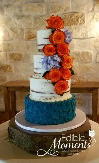 Semi-Naked Cake.  We love the teal color that matched the bride's color decor.  So pretty!  Fresh...