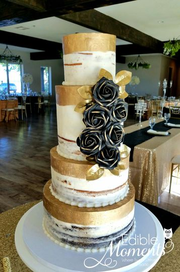 Naked Cake design hand-painted with gold trim & black roses