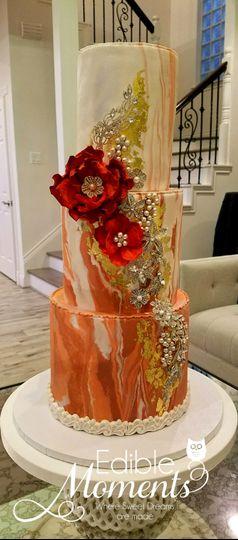 Coral Marble Cake, gold leaf