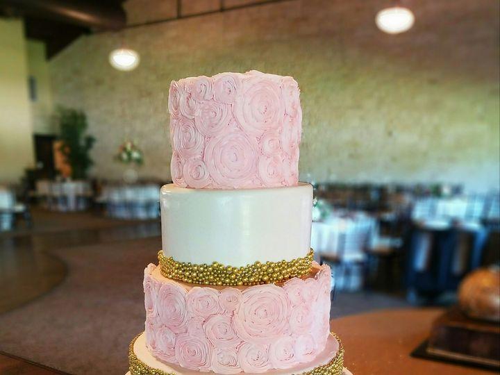 Tmx 1490652768186 Rosette  Gold Dragee Wedding Cake Richmond, TX wedding cake
