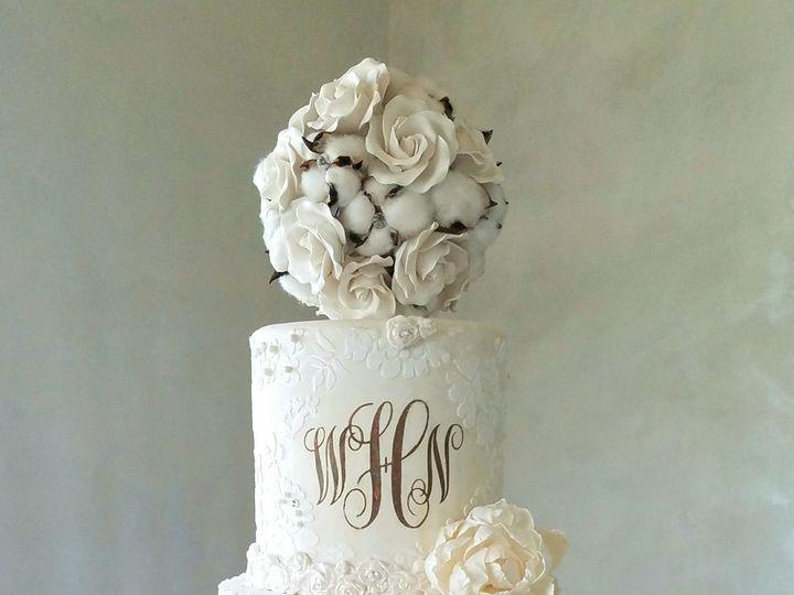 Tmx 1534289222 3f9fb4d070456418 1534289220 7237fe93df51a2b7 1534289213055 2 Cotton Themed Wedd Richmond, TX wedding cake