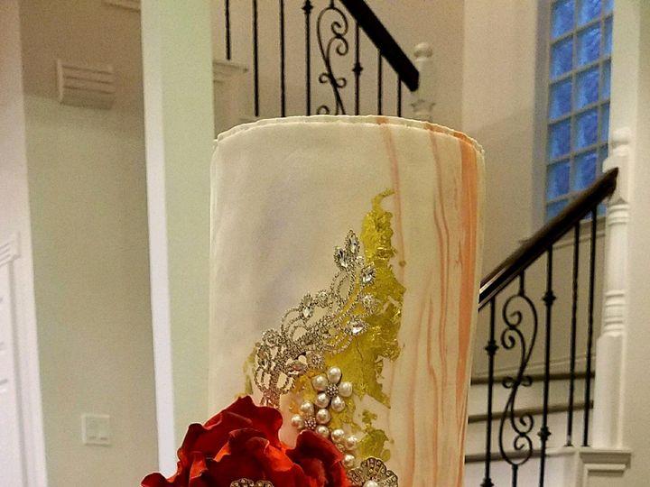 Tmx Coral Marbel Cake With Gold Leaf 51 692602 Richmond, TX wedding cake
