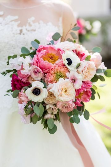 Coral, pink and white bouquet