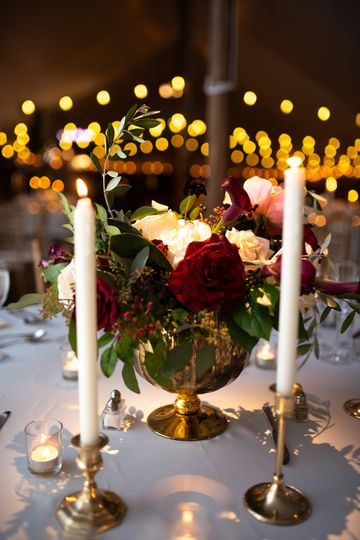 Elegant flowers and candles
