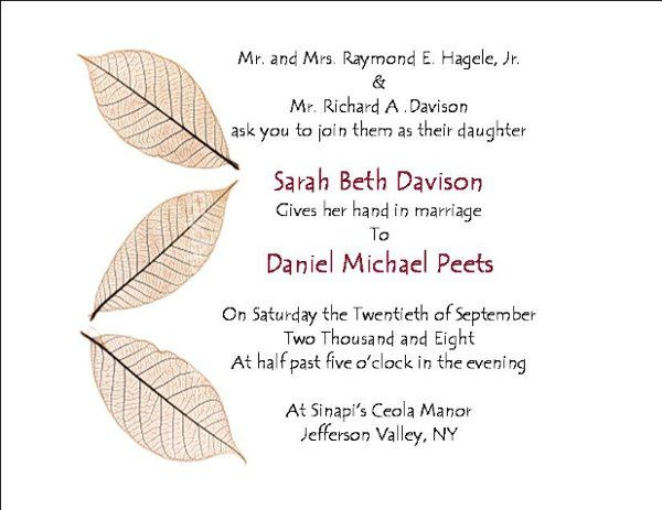 Tmx 1258042833266 Leafsonside North Salem wedding invitation