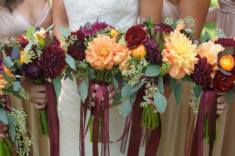 sweet fall colors for the bridesmaids Photographer: Carrie Pellerin
