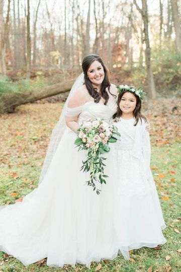 The bride and a flower girl