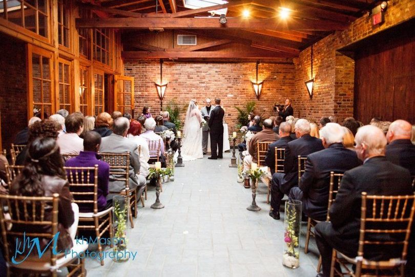 Indoor Ceremony brick and pine
