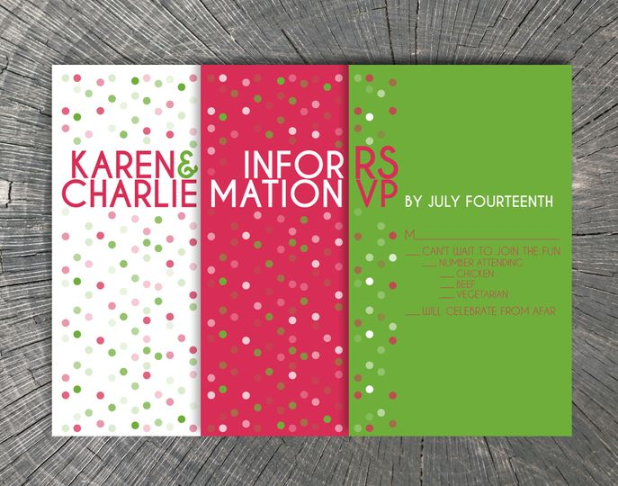 Karen & Charlie's Wedding Featuring modern typography and energizing dots this invitation suite with...