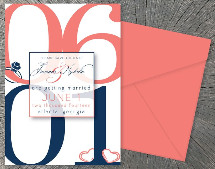 Nykelia & Jamaris'  Save-The-Dates My most popular save-the-date, announcing upcoming nuptials in a...